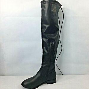 Charlotte Russe Knee Boots Size 6 Black Zipper New Ties Winter Fall