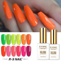 RS Nail Gel Nail Polish UV LED Varnish Soak Off Neon Colours 15ml