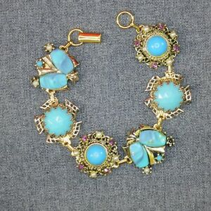 Gold and Turquoise Bracelet Handmade UpCycled from Earrings One of A Kind