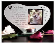 My Dog - Inspirational Poem Candle and Photo Holder Glass Memorial Plaque