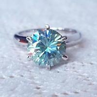 Certified 2.00 Ct Round Blue Diamond Engagement Ring 14K White Gold