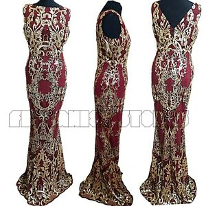 Prom Dress Gold Wine Sequin Stephanie Pratt Long Ballgown Stretch Evening  Maxi