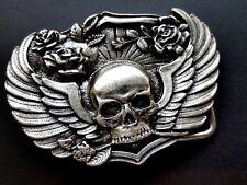 Gürtelschnalle Wechselgürtelschnalle Skull Schließe silber 4cm Totenkopf