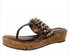 Grazie Ladies CAYMAN Leather Wedge Sandals Flip Flops BRONZE Size 6.5 M NIB
