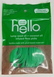 Dental Floss Picks Hemp Seed Oil and Coconut Infused 80 Count Spearmint Flavor