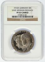 1910 A Germany 3 Mark 3M Saxe-Weimar-Eisenach Silver NGC Graded PF63 Cameo