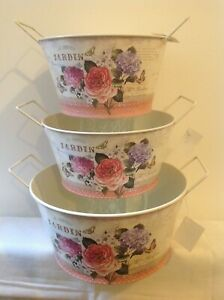 SET3 floral pattern/painted galvanised side handles containers for gifts for mum