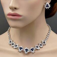 18K White Gold GP Sapphire Zirconia CZ Wedding Necklace Earrings Jewelry Set 39