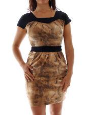 Lavand Dress Damenkleid braun Kurzarm Karreeauschnitt feinstrick