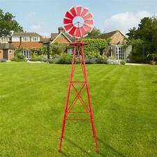 8-Ft Ornamental Metal Windmill Lawn Yard Garden Decor Weather Vane Rustic Red