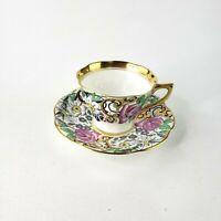 ROSINA Porcelein Bone Rose Floral Flower Tea Cup & Saucer Gold Rim Purple Green