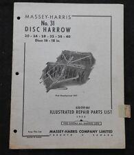1953 Massey Harris N º 31 Discos Harrows Mano Izquierda Giro Piezas Catálogo