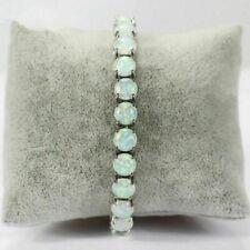 Lovely Sterling Silver Dipped Round White Fire 6mm Opal Tennis Bracelet 19.5cm