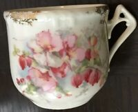 Beautiful Antique Pink Flowers Moustache Cup~Germany~Floral Sprays~Gold~Handle