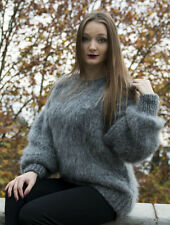 New Gray Hand Knitted Long hair Mohair Fuzzy Sweater Pullover by LanaKnittings
