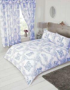 Toile De Jouy Traditional Vintage French Blue White Super King  Duvet Bedding