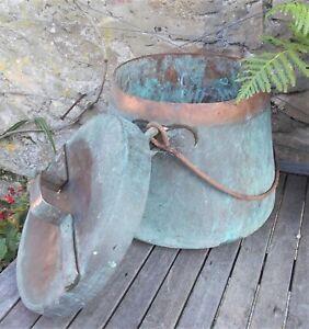 antique copper cauldron, with lid, marmite, 34 cm. diam; French, iron handle