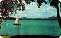 Vintage Postcard - Sailing On Upper Saranac Lake & Inn - New York NY #1824