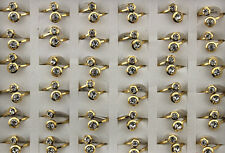 Lot 27pcs Stainless steel Big CZ Gold Band Fashion Top Quality Women Charm Ring