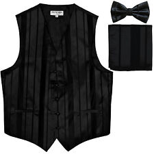 New Men's vertical stripes Tuxedo Vest Waistcoat_bowtie & hankie black formal