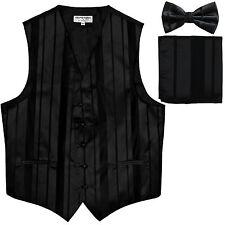 New Men's vertical stripes Tuxedo Vest Waistcoat_bowtie & hankie black formal
