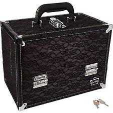 Makeup Train Case Cosmetics Box Make Up Storage Organizer Cases 6 Trays Black