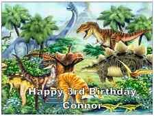 Dinosauro scena personalizzati wafer carta TOPPER per Torta Grandi Varie Dimensioni A4