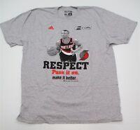 Adidas Mens Size XL Portland Trail Blazers Damian Lillard Gray Shirt