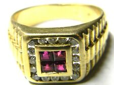 mens 14k yellow solid gold 16 diamond 4 red ruby ring 8 grams size 8.5