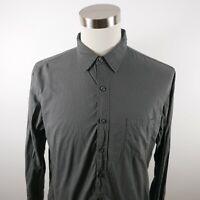J Crew Mens Lightweight Cotton LS Button Down Solid Dark Gray Dress Shirt Large