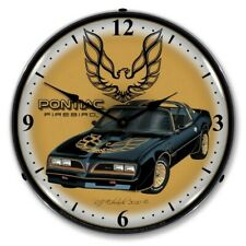 Retro Pontiac Firebird Game Room Man Cave Backlit Led Lighted Wall Clock New