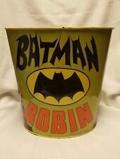 "VINTAGE 1966 BATMAN and ROBIN 9 1/2""  Trash Can - J Chein Co  TRASHCAN wastecan"