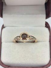 LeVian 14k Rose Gold Smoky Quartz Chocolate Strawberry Diamond Halo Ring 6.75