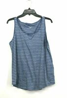 Eileen Fisher Womens Blue Stripe Organic Cotton Tank Top Scoop Neck Sleeveless M