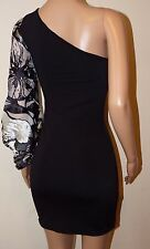 VICKY MARTIN black white one shoulder sleeve fitted bodycon mini dress 8 10 BNWT