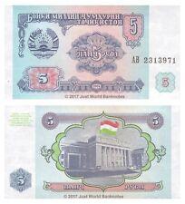 Tayikistán 5 rublos 1994 P-2 Antigua URSS Billetes Unc