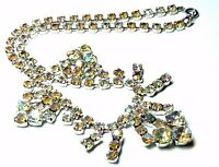 Lovely Vintage 1950s sparkly AB rhinestone silver tone necklace party prom
