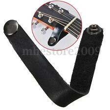 Leather Headstock Tie Acoustic Folk Guitar Neck Strap Button Lock Locking Black