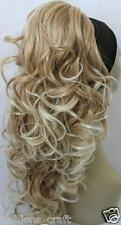 New Long Synthetic Curly Mix Dark Blonde Claw Clip Ponytail Hairpiece Extension