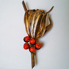 Red Coral Filigree Pin Brooch 7.3g Antique Solid Gilded 800 Silver Mediterranean