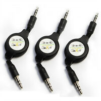 3x Auxiliary Retractable Cable Cord for All MP3 iPod iPhone Samsung Cell Phone