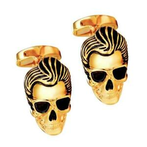 ROCKER SKULL CUFFLINKS Punk Elvis Sunglasses w GIFT BAG Gold Silver Tone Metal