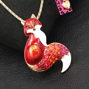 Betsey Johnson Red Enamel Crystal Fox Pendant Chain Animal Necklace/Brooch Pin