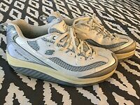 Skechers Shape Ups Silver White Blue 8.5 Womens Walking Athletic Sneakers Shoes