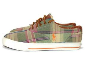 Polo Ralph Lauren Sneakers Plaid Madras Canvas Vaughn Lace Up Shoes Men 10.5