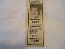 Ronnie Dove - concert Rocket Room WASHINGTON DC  - 1965 newsprint ad
