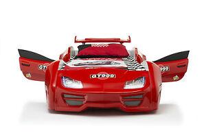 Autobett GT 999 Rot Vollausstattung mit Türen Sound und LED Beleucht Kinderbett