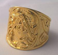 G-Filled 18ct yellow gold Masonic Freemason Men's ring Gent's Mason USA 11 AUS W