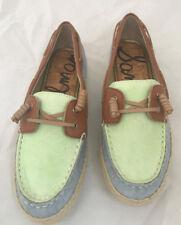 SAM EDELMAN Size 6 Sebastian Boat Shoe, Denim-saddle-lime,MRSP $125-NIB