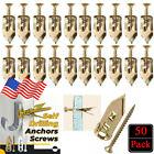 50PCS Self Drilling Anchors Screws Drywall Gold Color Wall Anchors Expansion Kit